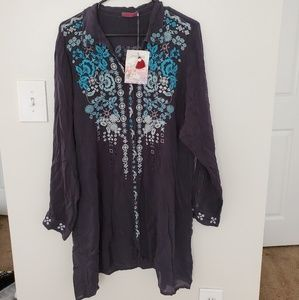 Johnny WasSkye Long-Sleeve Embroidered Tunic